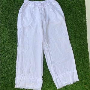 Camille & Co white linen frayed hem pant